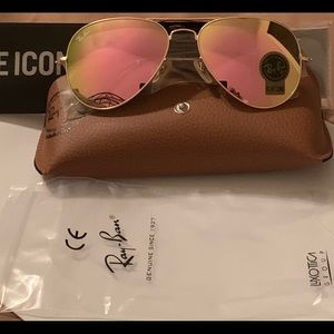 Ray Ban 58mm Pink Flash Lens w/ Matte Gold Frame
